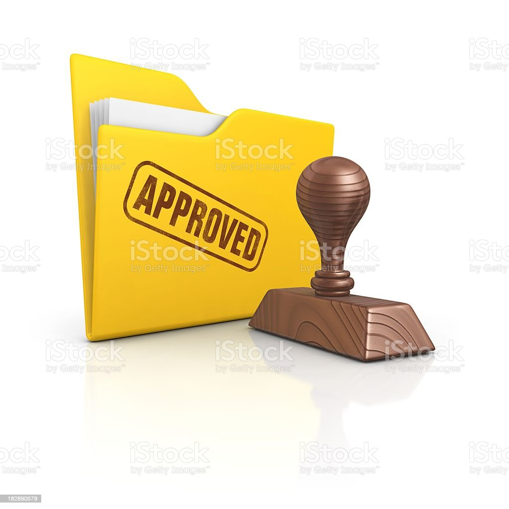 folder and stamp approved stock photo