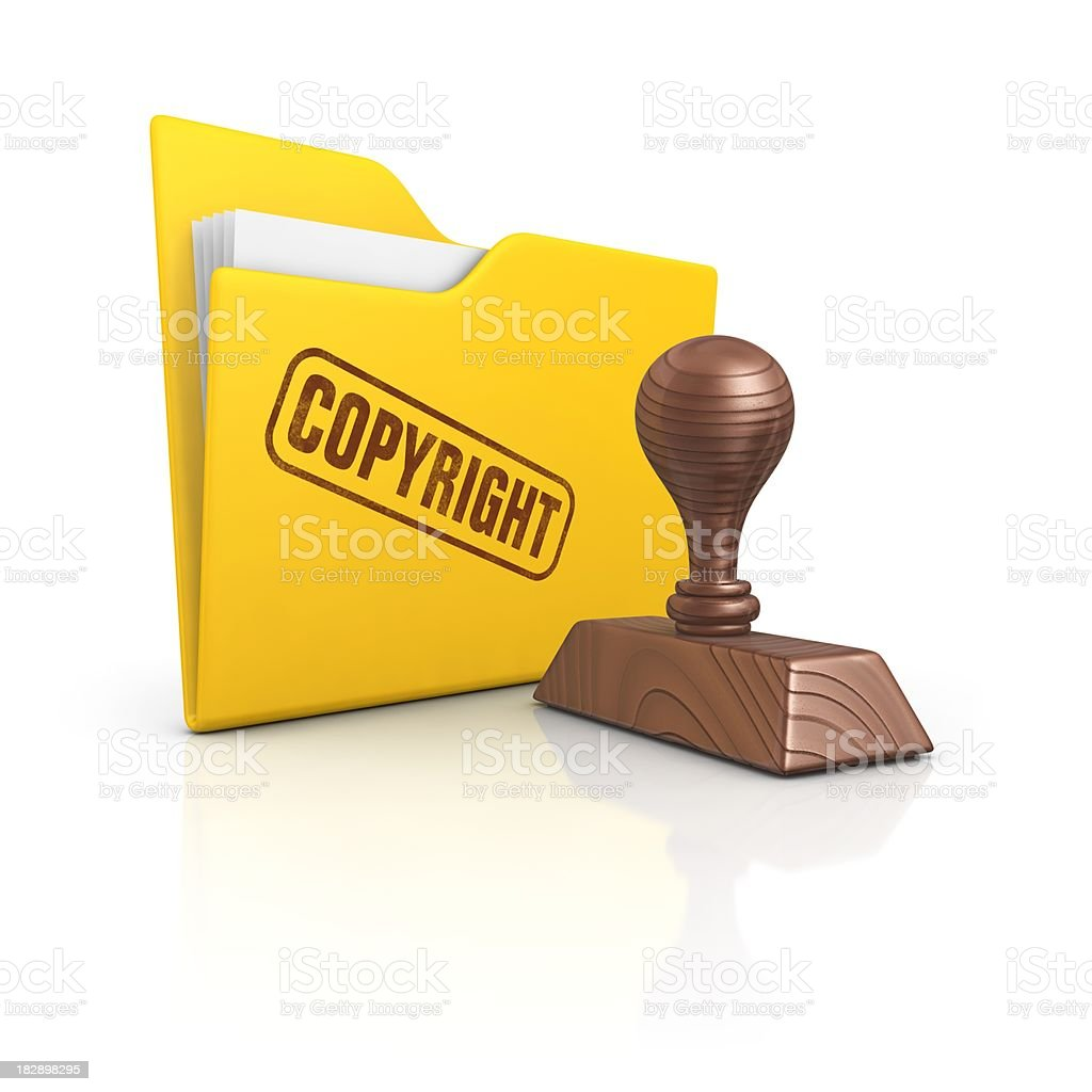 folder and stamp copyright royalty-free stock photo