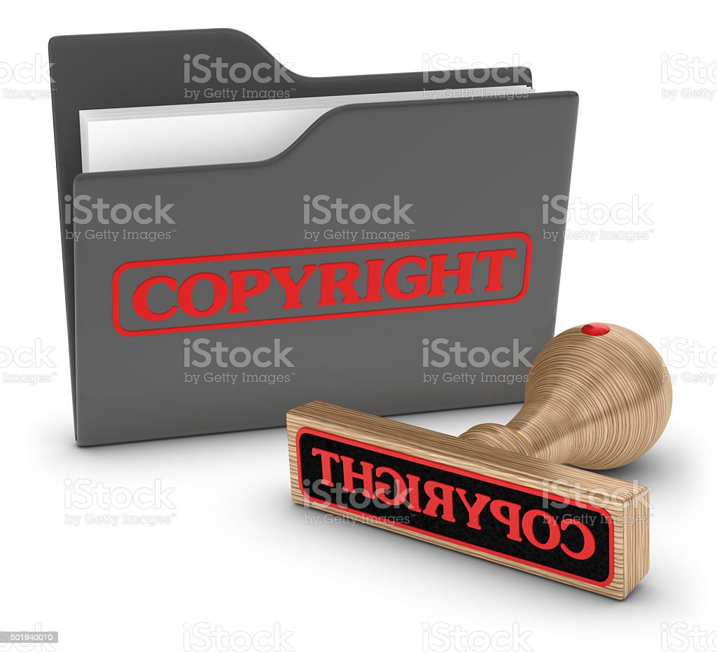 Folder and Stamp Copyright stock photo