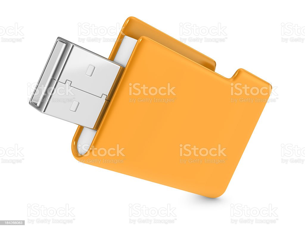 Folder and USB Flash Drive royalty-free stock photo
