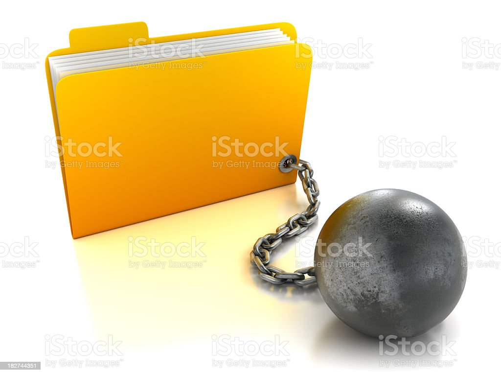 Folder attached to ball and chain, isolated with clipping path stock photo