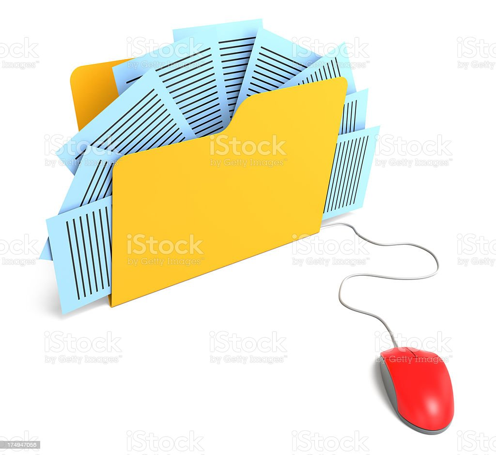 Folder connected to mouse royalty-free stock photo