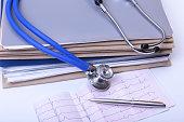 Folder file and stethoscope on the desk