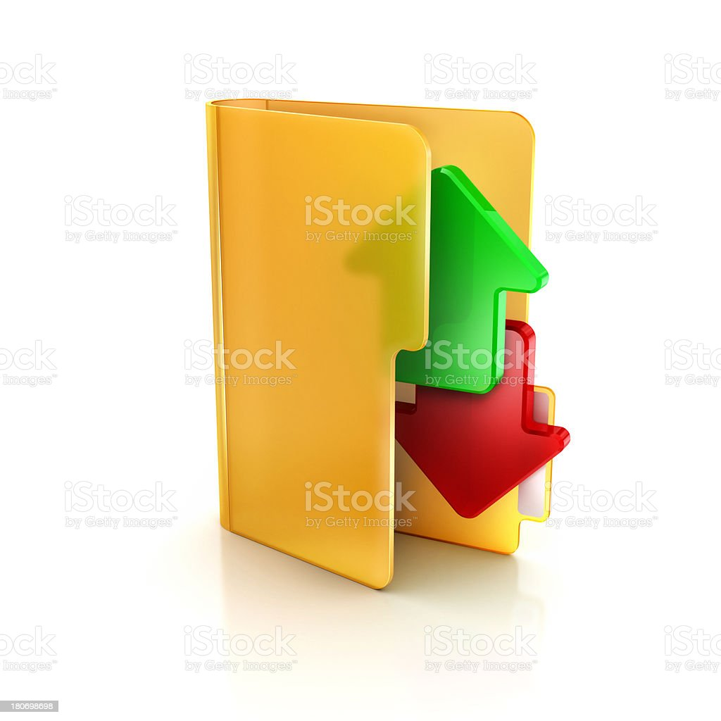 Folder Glossy Transparent icon and Down Arrow stock photo