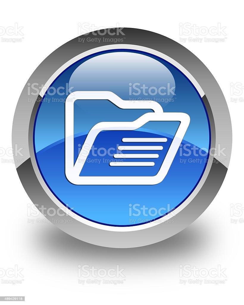 Folder icon glossy blue round button stock photo
