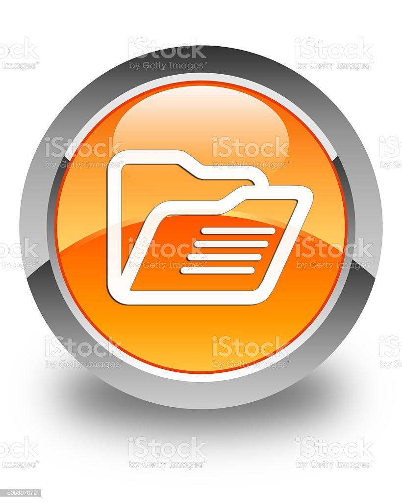 Folder icon glossy orange round button stock photo