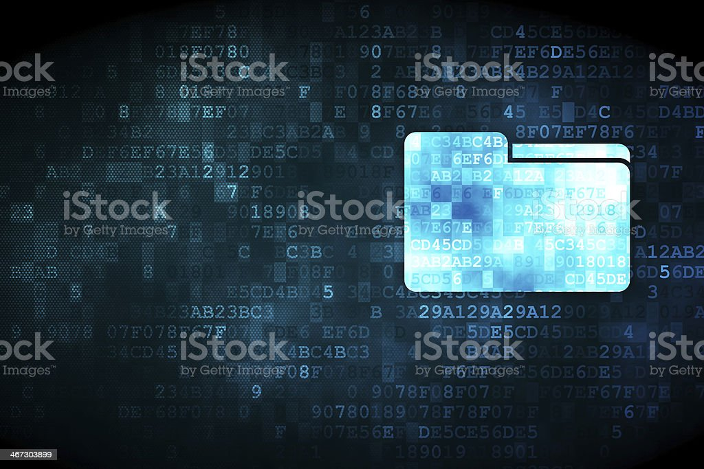 A folder icon on a black and blue digital background stock photo