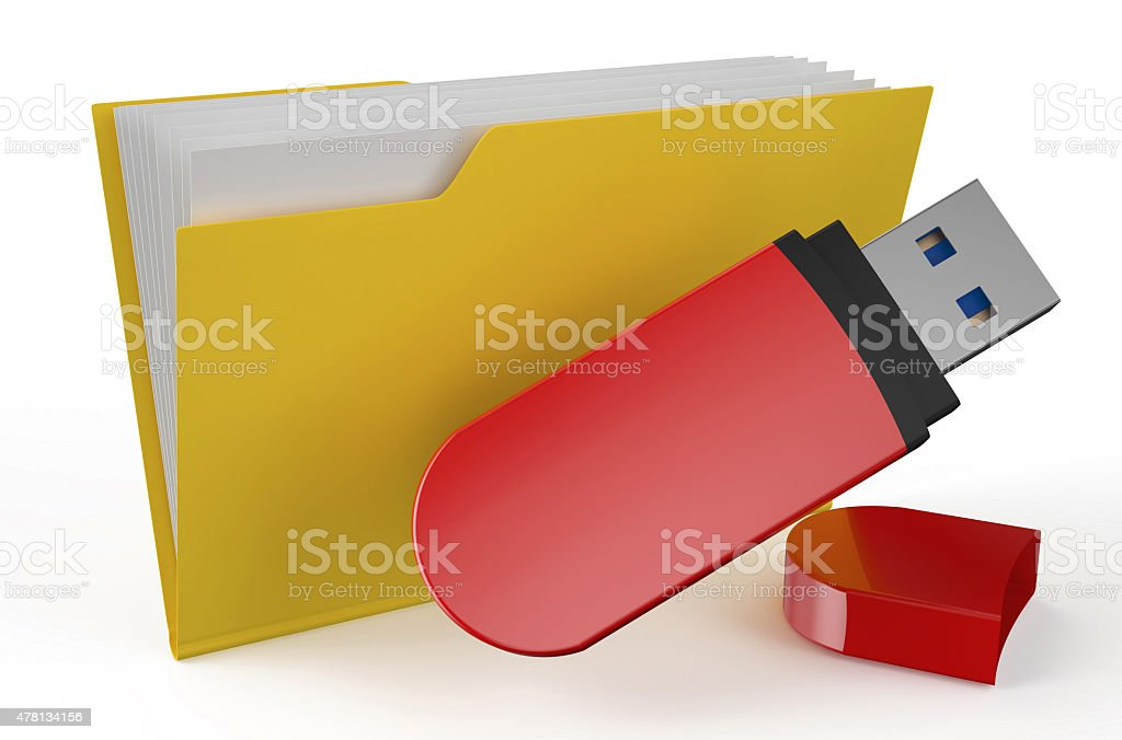 folder icon with USB flash drive stock photo