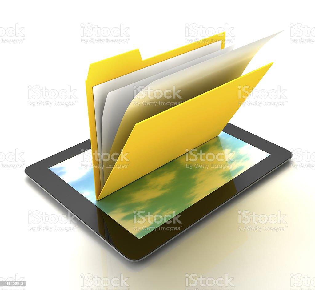 Folder on the Tablet PC stock photo