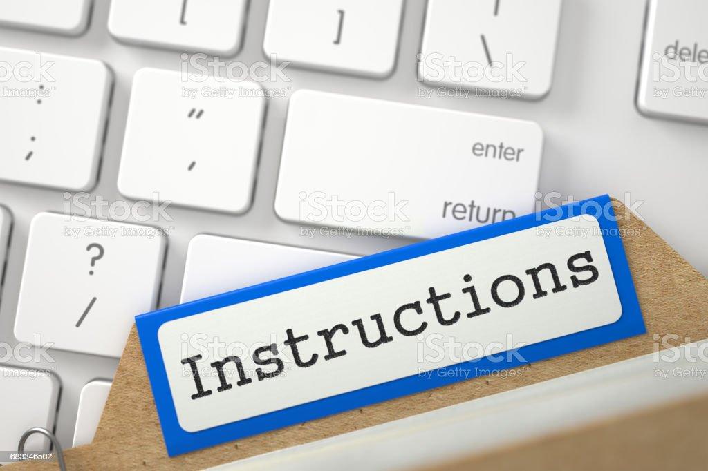 Folder Register with Inscription Instructions. 3D stock photo