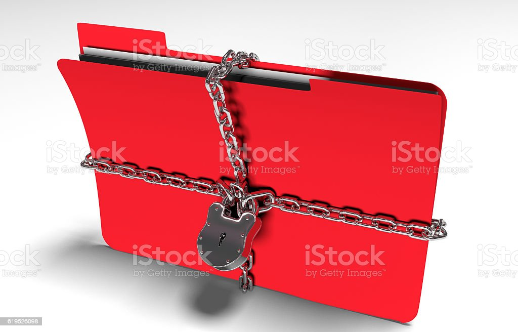 folder with chain and padlock, hidden data, security, 3d render stock photo