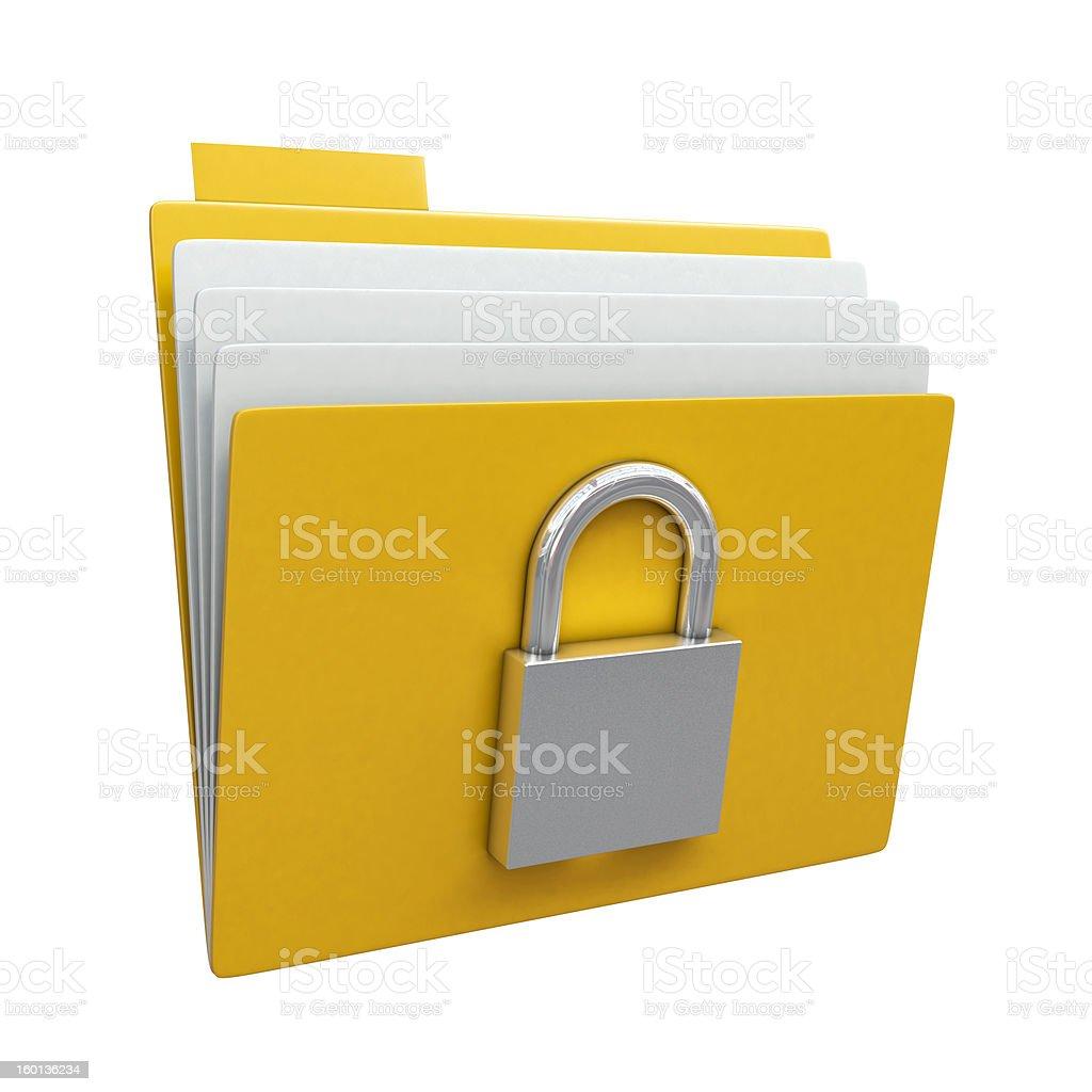 Folder with closed padlock royalty-free stock photo