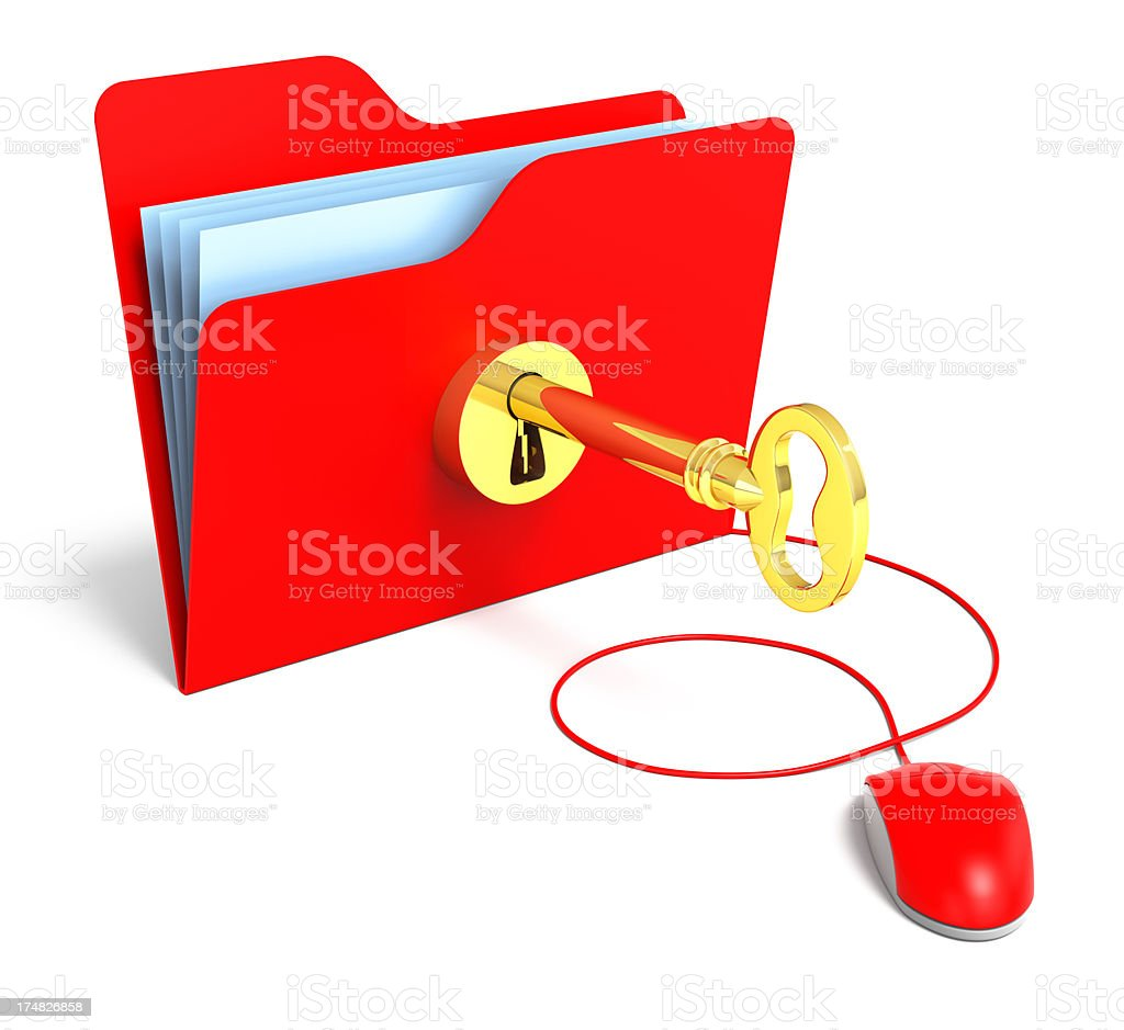 Folder with gold key stock photo
