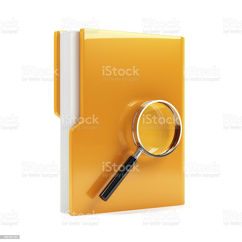 Folder with magnifying glass royalty-free stock photo