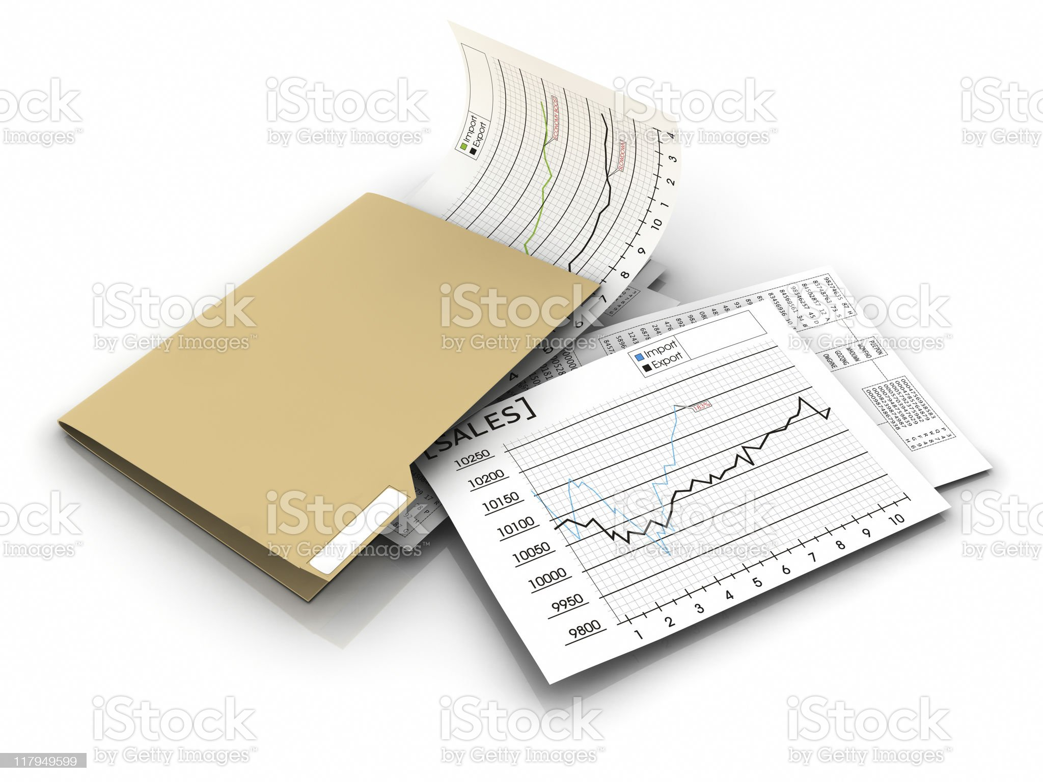folder with sales papers and spreadsheets royalty-free stock photo