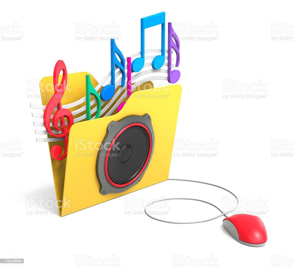 3D Folder with Speaker royalty-free stock photo