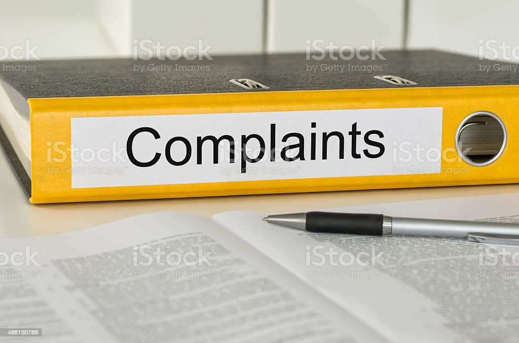 Folder with the label Complaints stock photo