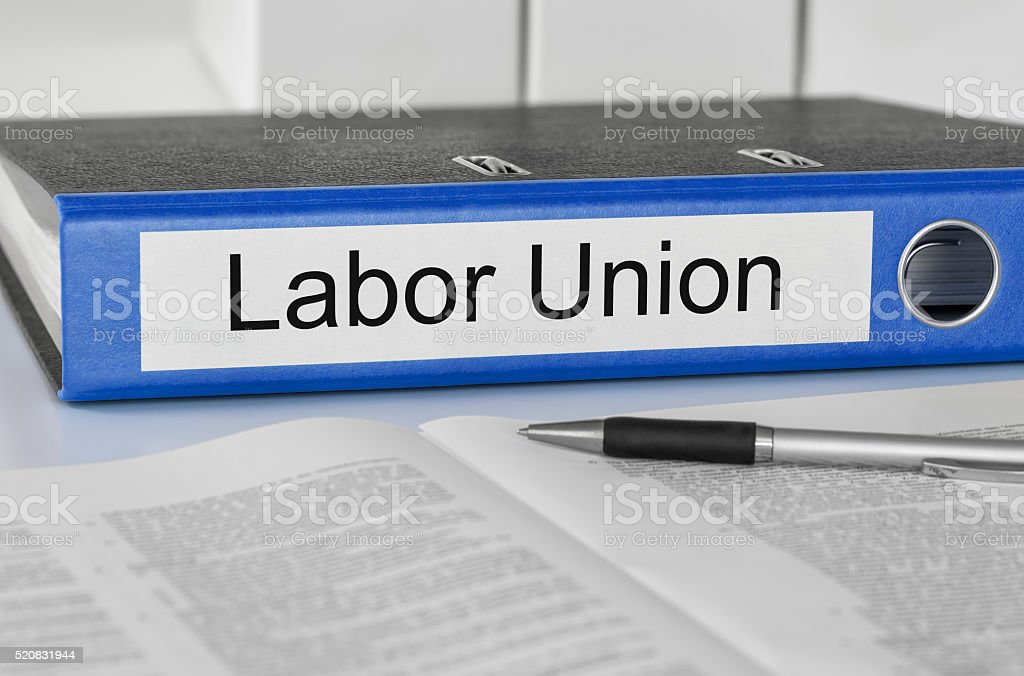 Folder with the label Labor Union stock photo