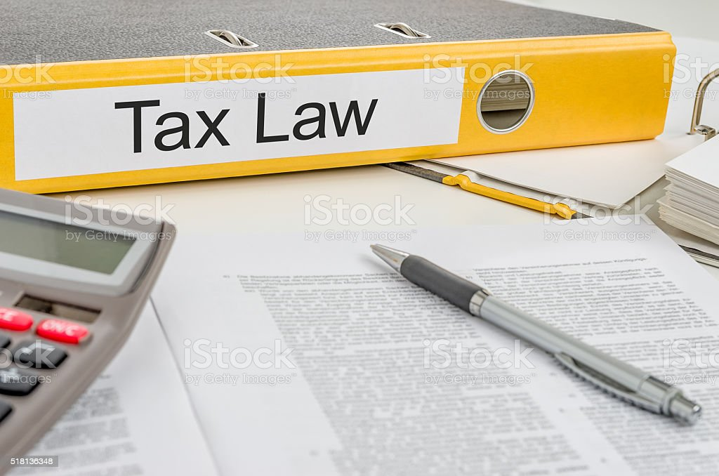 Folder with the label Tax Law stock photo