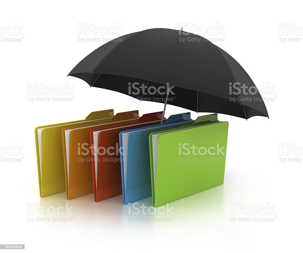 3D folder with umbrella royalty-free stock photo