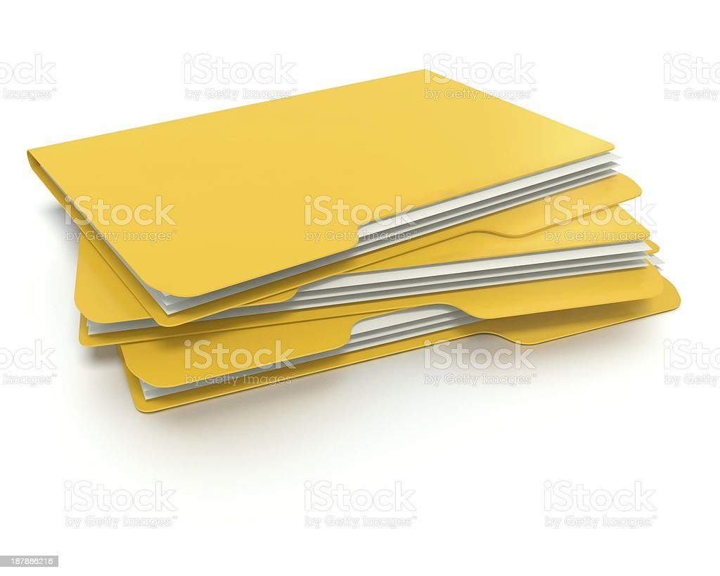 3D folder/file concept with white background and soft shadows. royalty-free stock photo