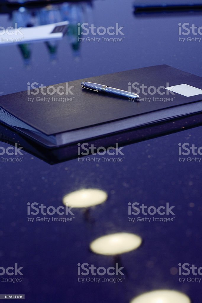 Folders and pen on office desk stock photo