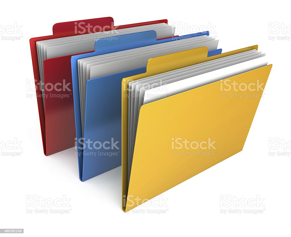 3 Folders isolated on white background stock photo