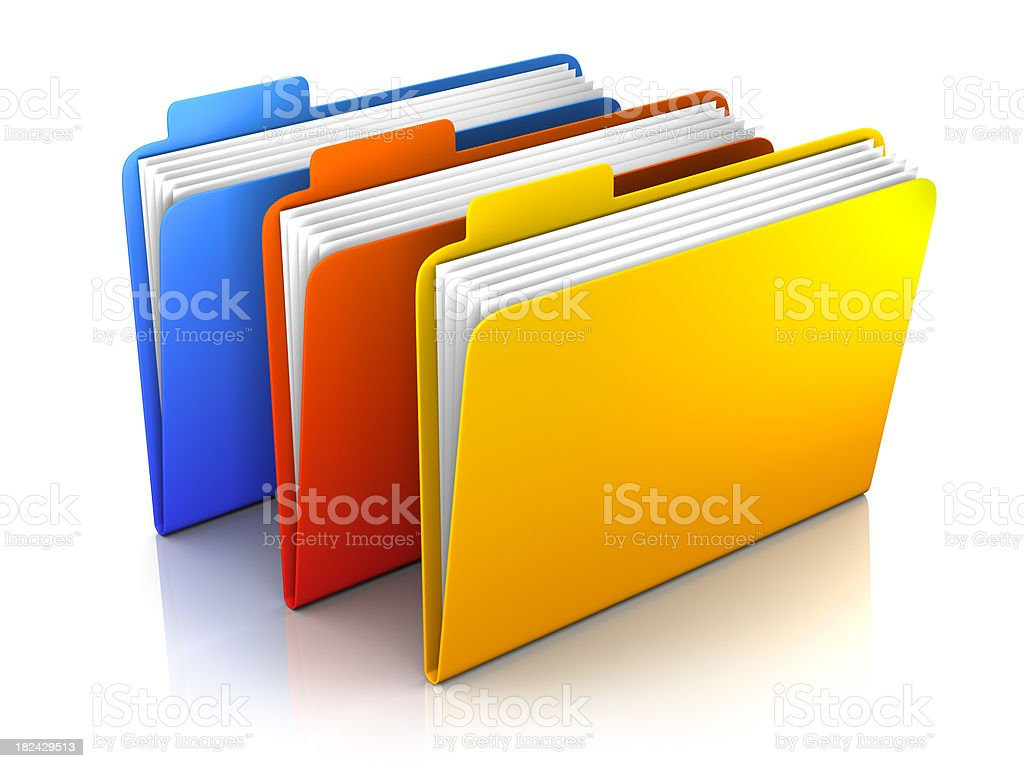 3 folders - isolated on white with clipping path stock photo