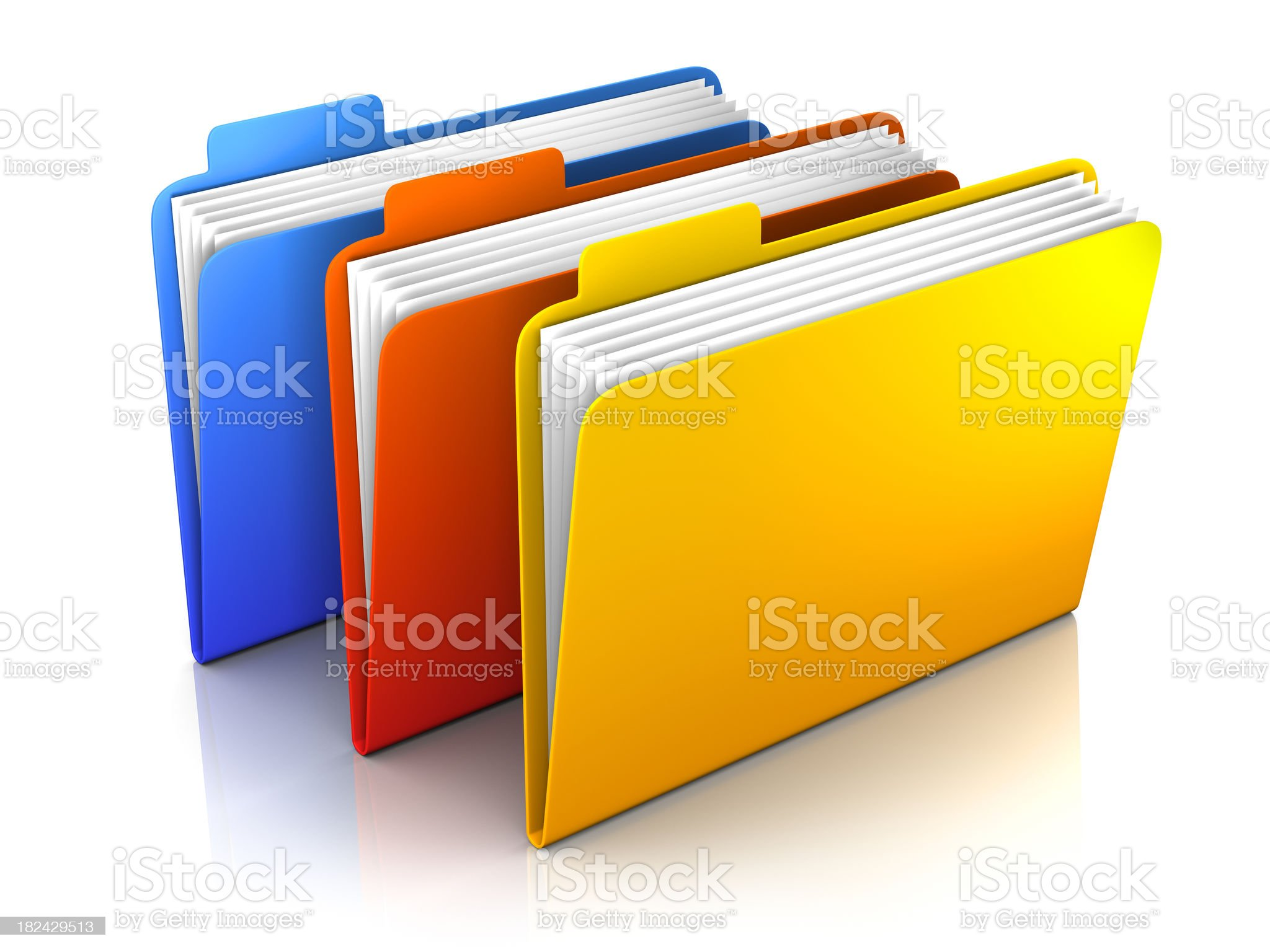 3 folders - isolated on white with clipping path royalty-free stock photo
