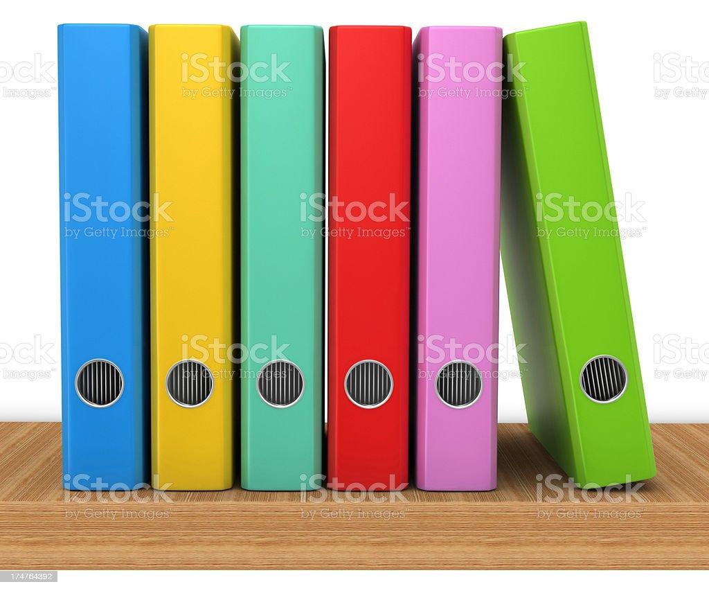 Folders on a Wooden Shelf stock photo