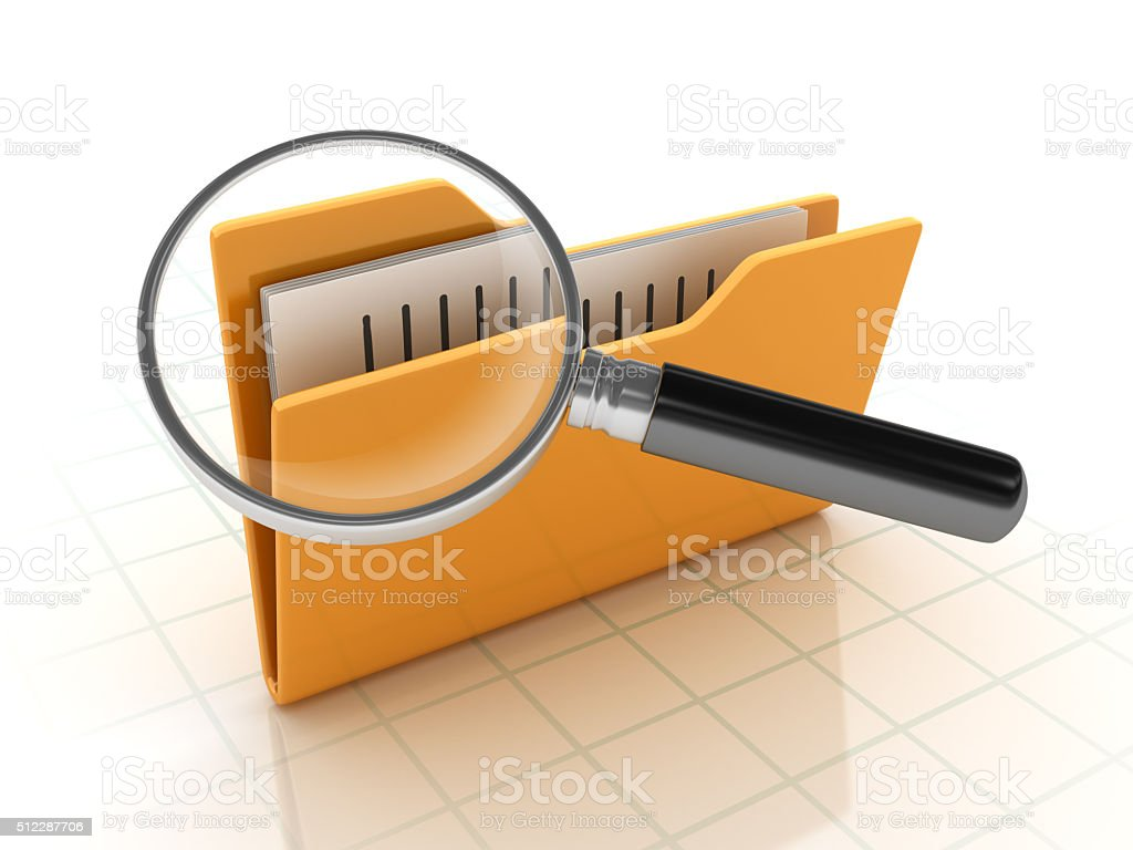 Folders Search with Magnifying Glass stock photo