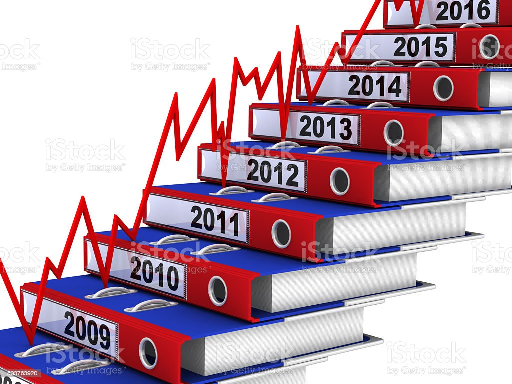 Folders stacked in the form of steps and red graph stock photo