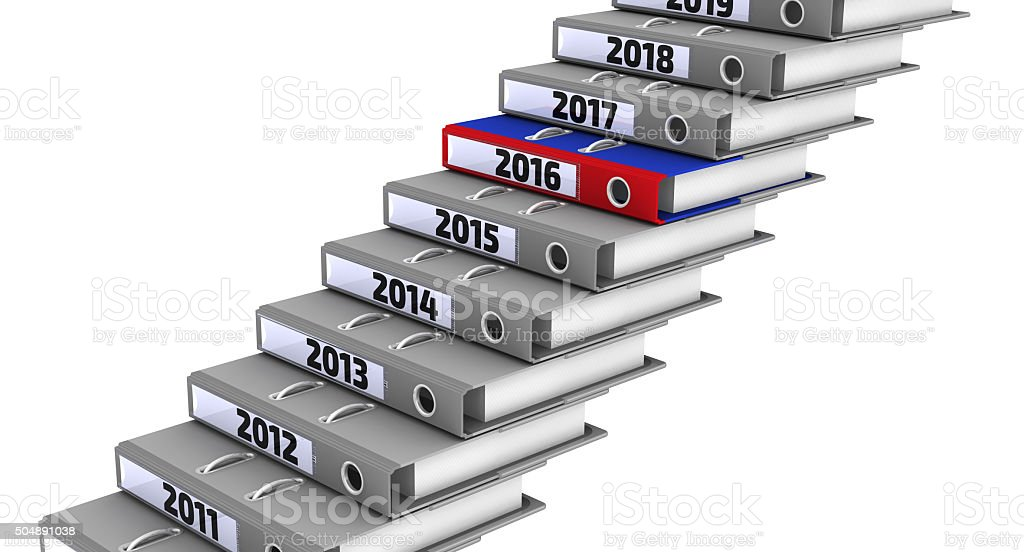 Folders stacked in the form of steps. Focus for 2016 stock photo
