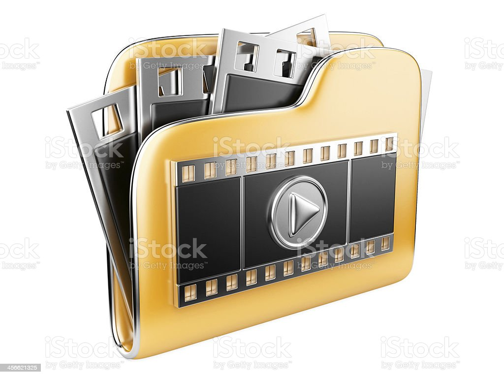 folders with a play button and film strip stock photo