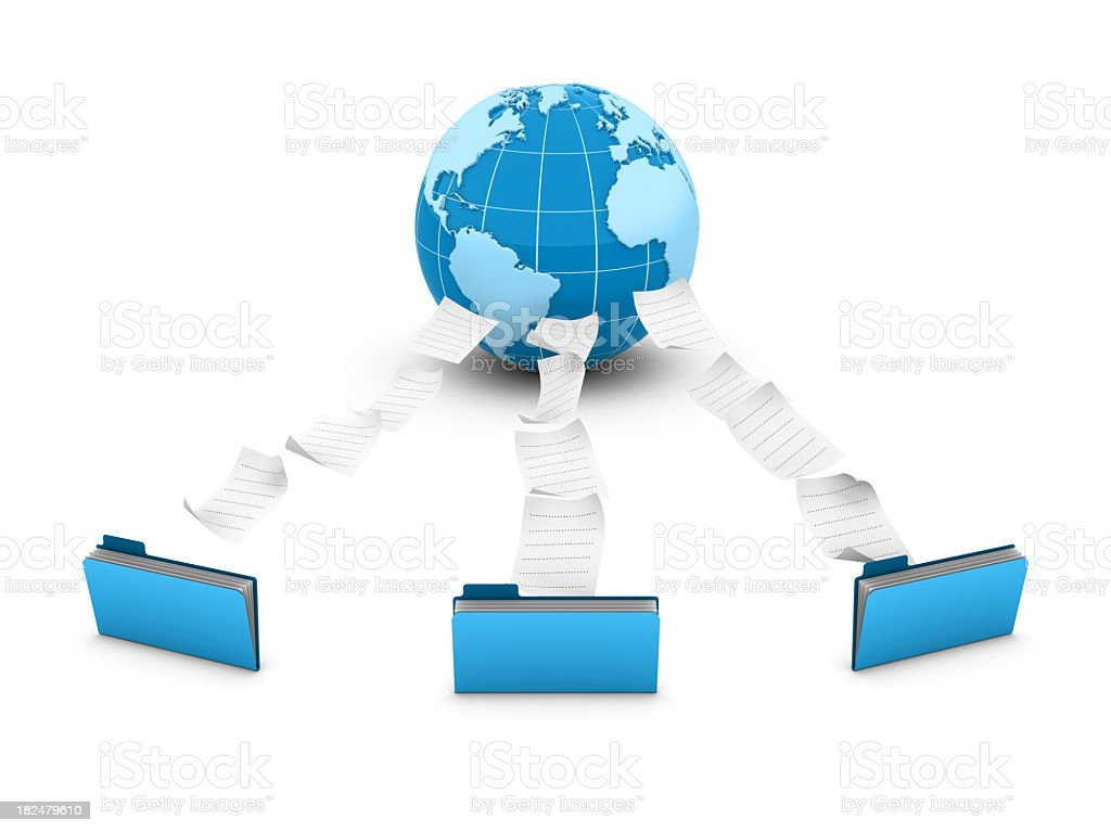 3D Folders with Globe World royalty-free stock photo