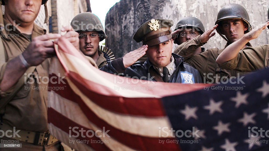 Folding Amercian Flag stock photo