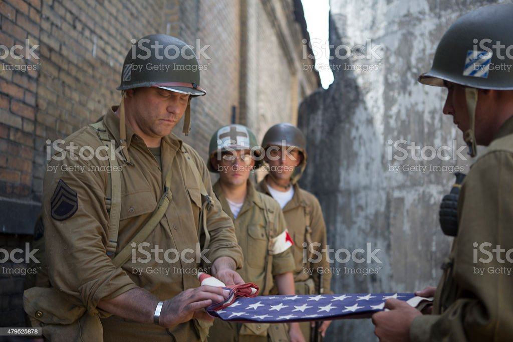 Folding American Flag for Fallen Hero stock photo