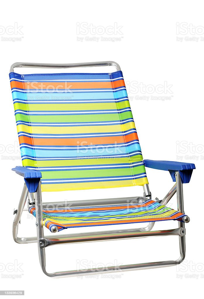 Folding Beach Chair Isolated on White Background stock photo