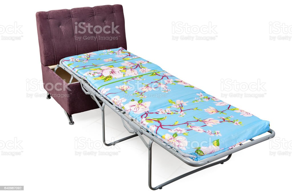 Folding bed chair upholstered light purple fabric, stock photo