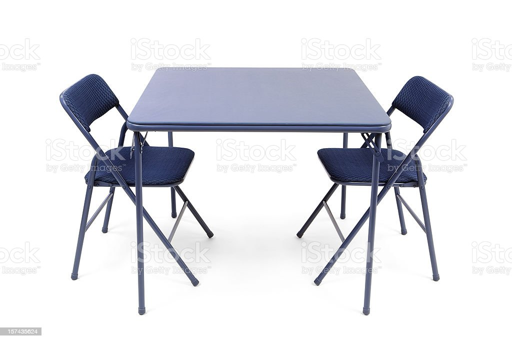 Folding Card Table and Chairs stock photo