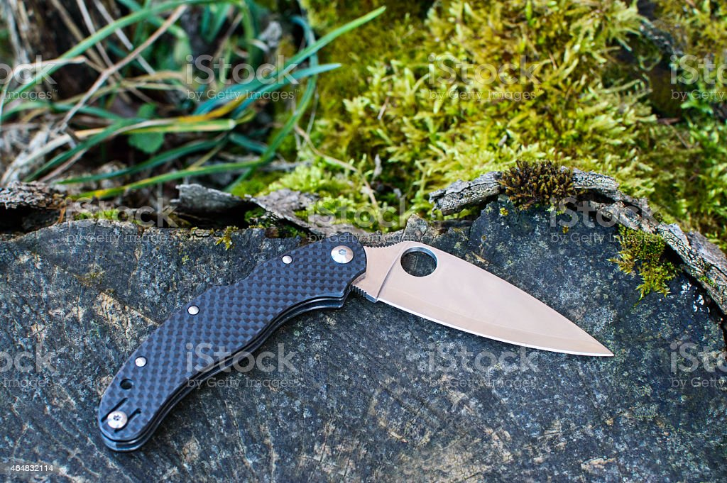 Folding knife outdoor stock photo