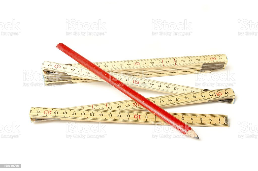 Folding ruler and carpenters pencil royalty-free stock photo