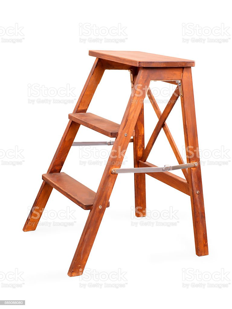 Folding wooden ladder on white with clipping path stock photo