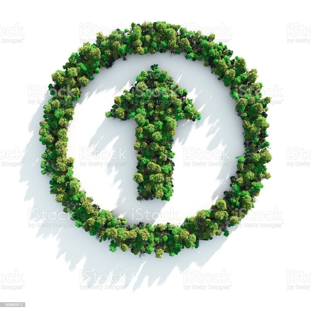 Foliage arranged in a circle with an arrow in the middle stock photo