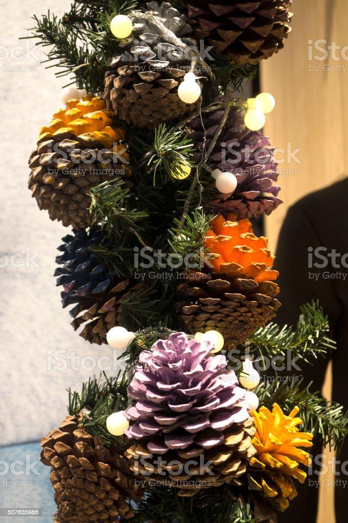 Foliage Arrangement with Pinecones stock photo