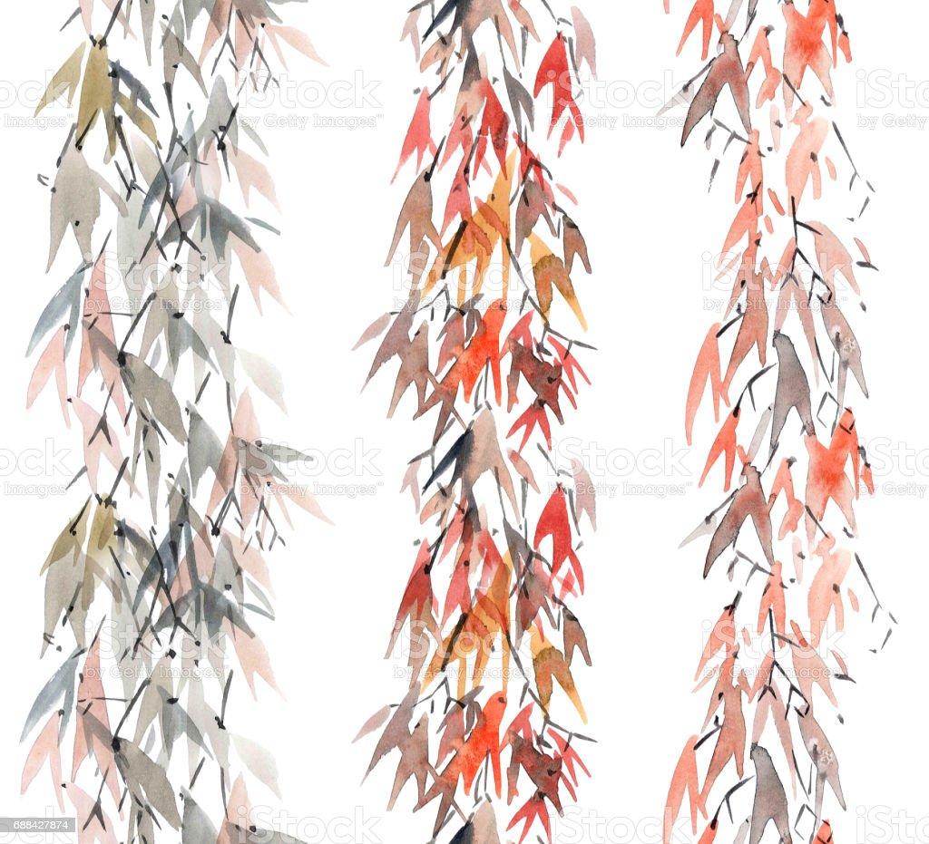 Foliate watercolor pattern stock photo