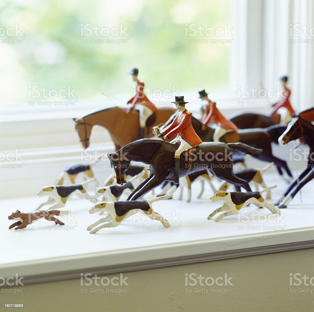Folk art fox hunt stock photo