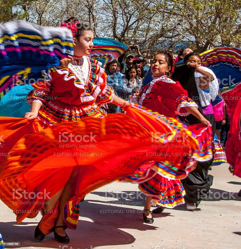 Folk Dancers at Pancho Villa Event stock photo