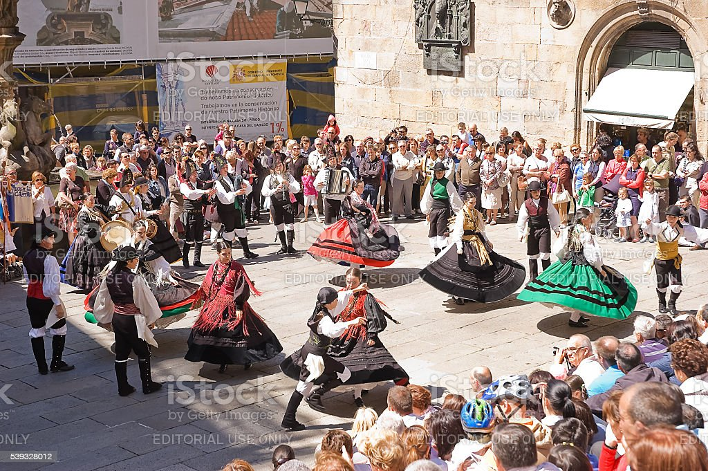 folk dancing in the square stock photo
