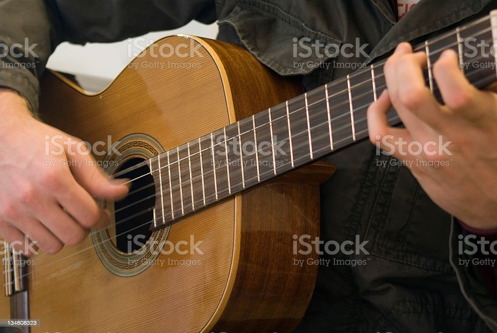 Folk Guitar Player stock photo